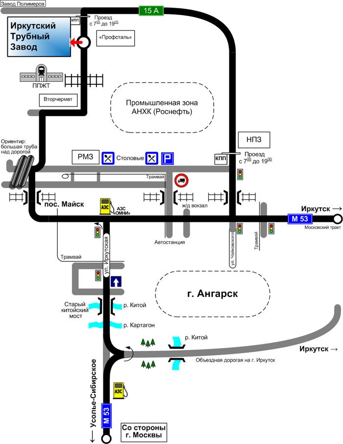 Cхема проезда к ООО Иркутский